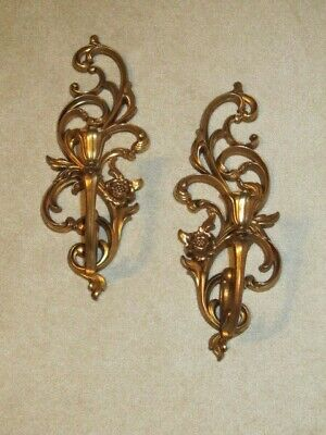 Vintage Set Syroco Gold Hollywood Regency Wall Sconce Candle Holders 4531 R&L