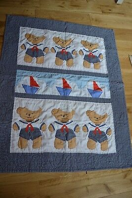 Quilted Bed Cover - Sailor Teddy Bear Design from Favourite Things - Hand Made