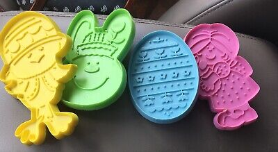 Vtg Lot 3 Hallmark Cookie Cutters Easter Bunny Face Nip Girl Chick