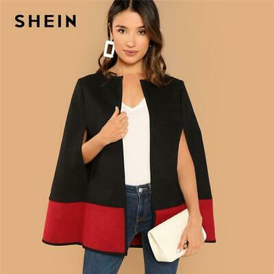 8f60b9cd11 SHEIN Weekend Casual Black Round Neck Two Tone Open Front Cloak Sleeve Cape  Coat