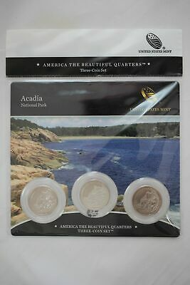 2012 US Mint Acadia National Park ATB Quarters - 3 Coin Set Sealed