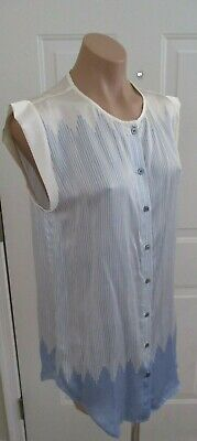 5aee56e4be VERONICA BEARD Blue   White Striped Silk Sleeveless Blouse - Size 8
