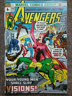 AVENGERS # 113 : Marvel (1973) Your Young Men Shall Slay Visions !