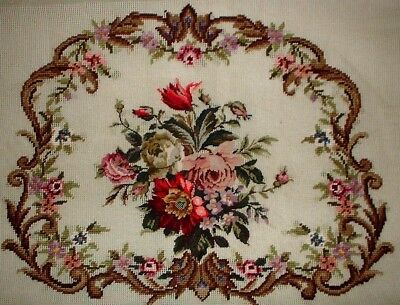 MC Pink & Red Rose Chair Seat Vintage Preworked Needlepoint Canvas