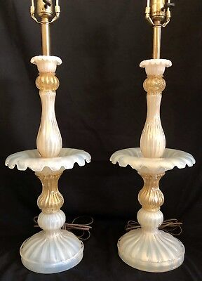 Vintage Antique Italian Murano Barovier Toso Art Glass Lamp PR Gold Opalescent 2