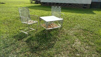 Vintage white metal patio set - table and chairs