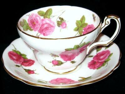 Antique EB Foley 1850 Bone China Tea Cup & Saucer Rose Floral Butterfly Gold