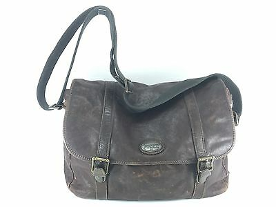 38b33057c7 FOSSIL ESTATE MESSENGER Bag Navy Blue Cotton Twill & Leather 16.5 x ...