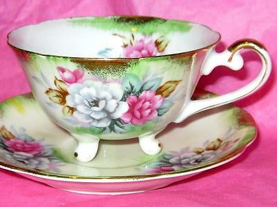 Royal Sealy China Pink Rose Spray 3 Footed Lime Gold Tea Cup & Saucer Japan