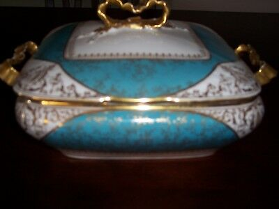 Vintage OSCAR GUTHERZ,  Limoges Beautiful Serving Dish,with lots of Gold trim.