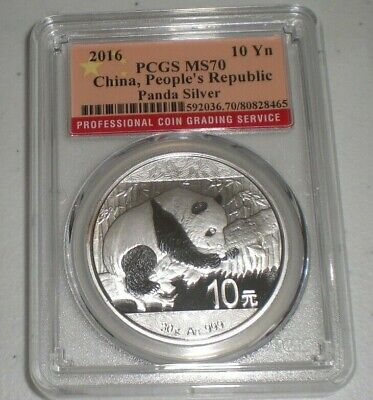 2016 China 10 Yuan 30 Gram .999 Silver Panda Coin PCGS MS70