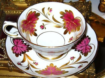Vintage GROSVENOR HOT PINK & HEAVY GOLD CULROSS FLORAL Tea Cup and Saucer