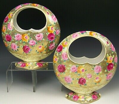 Pair Of Nippon Hand Painted Roses With Gold Gilt Moon Shaped Baskets/Vases