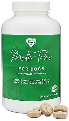 Project Paws Multi Tabs Plus Dog Vitamins, Chewable Multivitamin Pet 180 Tablets