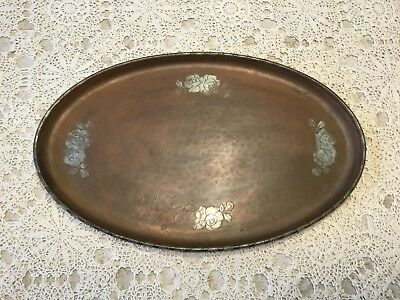 Antique English Harold Holmes Arts & Crafts Copper on Pewter Serving Tray. #1408