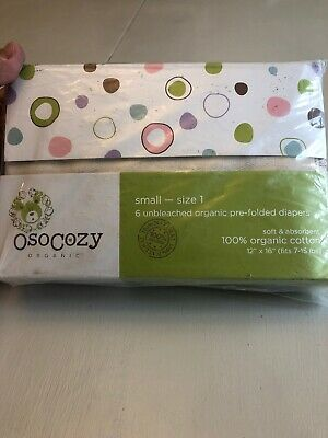 OsoCozy Organic Small Size 1 Unbleached Pre-folded Diapers 6 Pack (0091)
