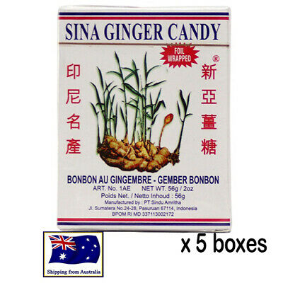 5 boxes Sina Ginger Candy Chewy permen jahe bonbon au gingembre