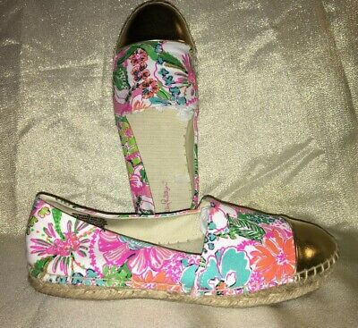 30cea553eec0f8 LILLY PULITZER For Target Espadrilles Shoes Nosie Posey Gold Toe Size 10