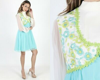 a8020777b2a64 Vintage 60s Mod Floral Dress Chiffon Embroidered Bridal Cocktail Party Mini