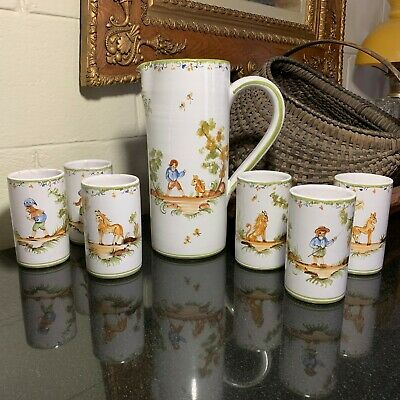 Mufraggi Faience Ceramic Water Pitcher & Tumblers Moustiers-Sainte Marie France