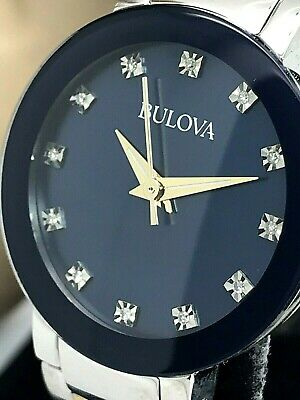 Bulova 98P157 Blue Mother Of Pearl Diamond Dial Two Tone Stainless Ladies Watch