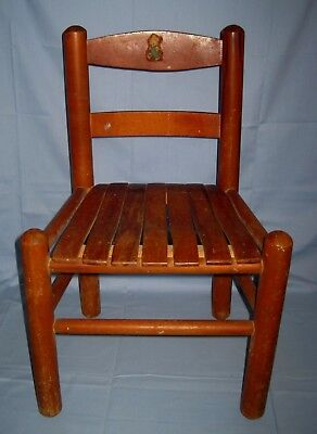 Vintage Wood Slat Seat Toddler Child Size Chair W/Teddy Bear Decal!