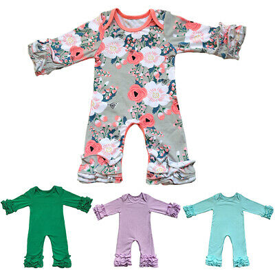 Newborn Baby Boy Girl Romper Ice Layered Ruffle Jumpsuit Bodysuit Outfit Clothes