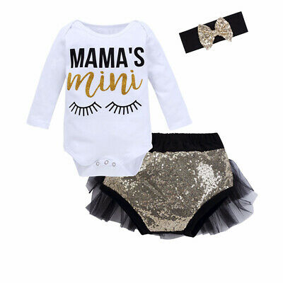 3Pcs Newborn Baby Baby Girls Outfits Sequin Sparkly Shorts+Romper+Headband Set