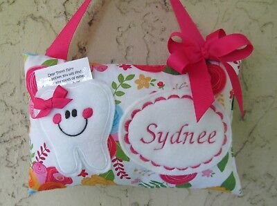 Tooth Fairy Pillow Personalized Pink Floral with Hot Pink