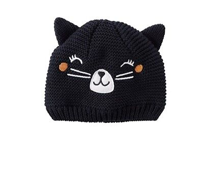 Carters NWT Infant Girls Black Knit Cat Hat Size 0-3 M Months $16 Halloween