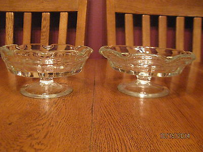 2 Vintage Glass Crimped Flared Footed Ice Cream ~ Dessert Dish Fruit Pie Plate