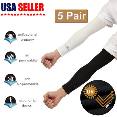 5 Pair Unisex Seamless Black Cooling Arm Sleeves Cover UV Sun Protection Sports
