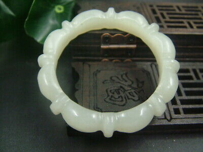 Antique Chinese Celadon Nephrite Hetian Archer's Thumb Hollow Lotus flower
