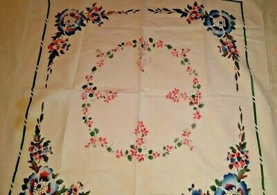 "60-80 year old deco floral print cotton tablecloth 34"" x 36"" vtg"
