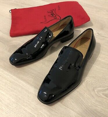 reputable site 0a3e9 9efb2 AUTH CHRISTIAN LOUBOUTIN Mens Black Patent Shoes Dandelion Flat Us Size 8.5