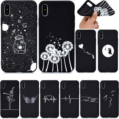For iPhone XS XR XS Max 6S 7 8 Plus SE Slim Soft Silicone Painted TPU Case Cover