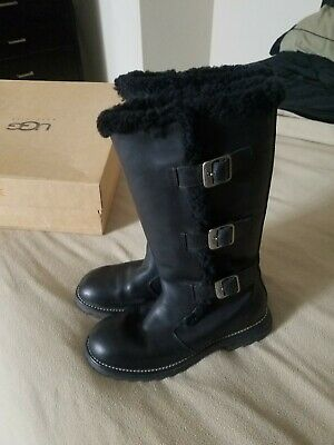 fa9b37559 UGG women Larkspur tall boots black leather sheepskin lined 3 buckle size 9