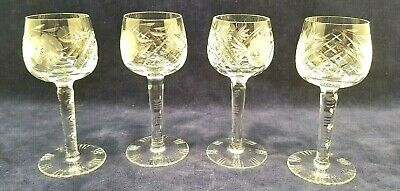 Antique Hand Blown & Cut Etched Long Stem Crystal Wine Glasses 4oz