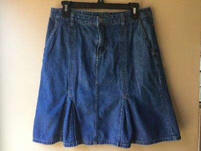 efc2b0038dbc Eddie Bauer Denim Jean Skirt Women's Size 8 A-Line Short Pleats Pockets Blue