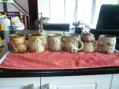 6 Vintage Gempo Pottery mugs/jug Alligator, frog, Owl, dinosaur, bear, bear body