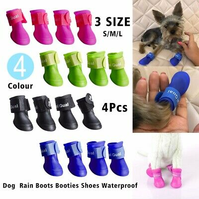4Pcs Pet Dog Puppy Skidproof Rain Shoes PVC Rainboot Antiskid Waterproof Booties