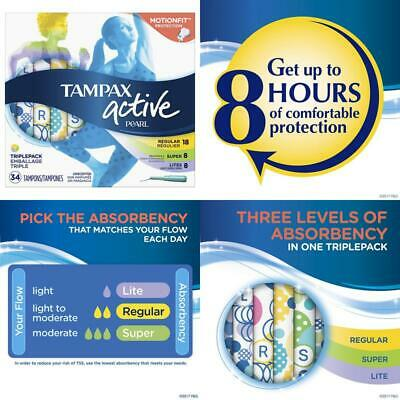 Tampax Pearl Active Plastic Tampons, Light/Regular/Super Absorbency Multipack, U