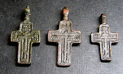 Ancient Old Christianity Bronze Cross 3 Pieces.