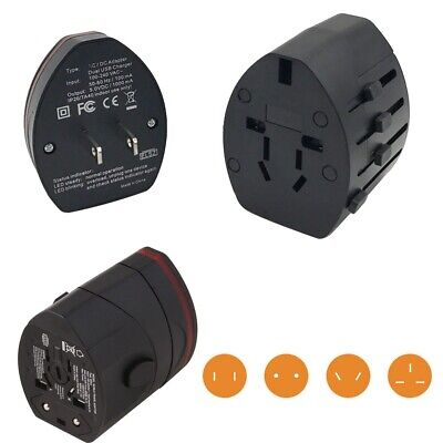 Universal AC Travel Wall Charger Adapter Power Multi Plug Dual USB Port AU/UK/US