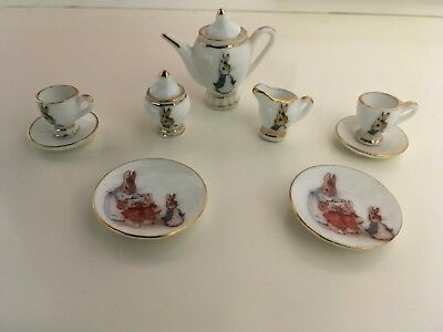 Beatrix Potter Peter Rabbit Porcelain Miniature Tea Set Reutter Porzellan