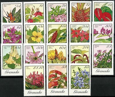 Grenada 1985-8 Native Flowers Definitives x 18 Different MH Stamps #D87896