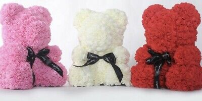 Rose Bear with box Teddy Bear Large Luxury Rose Gift 40CM UK Anniversary Wife