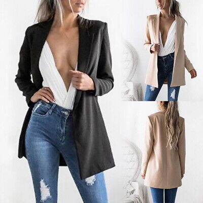 New Womens Casual Blazer Ladies Open Front Lapel  Slim Suit Jacket Coat Top HL