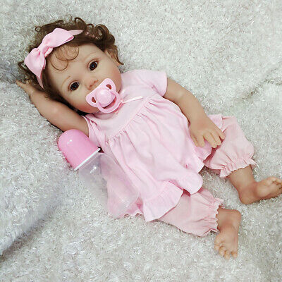 "18"" Reborn Baby Doll Full Body Silicone Vinyl Anatomically Newborn Girl Dolls"