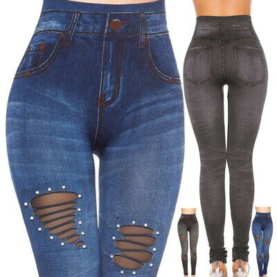 Women's Denim Skinny Pants High Waist Hole Stretch Trousers Slim Pencil Legg LO